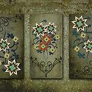 Floral Grunge Triptych Print by Cherie Balowski