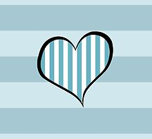 Artistic Retro Heart Stripes Lines Blue White by sitnica
