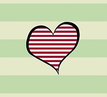 Artistic Retro Heart Stripes Lines Red White by sitnica