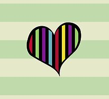 Retro Heart Stripes Lines Red Blue Green Pink by sitnica