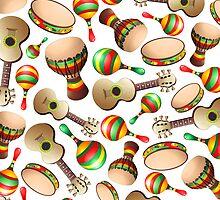Guitar Maracas Bongo Pattern by BluedarkArt