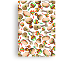 Guitar Maracas Bongo Pattern Canvas Print