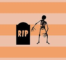 Halloween Skeleton Tombstone Stripes Black Orange by sitnica