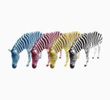 CMYK Drinking Zebras by Redilion