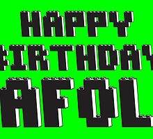 Happy Birthday AFOL Greeting Card in Brick Font by Chillee Wilson from Customize My Minifig by ChilleeW