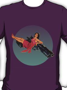 Swinging Sixties Girl on Gun T-Shirt