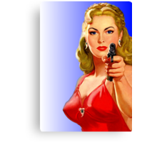 Red Hot Girl with Gun Canvas Print