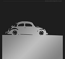Volkswagen Beetle - Silver negative on dark by uncannydrive