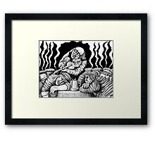 Violinist in Tavern black and white ink pen drawing Framed Print