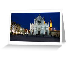 Blue Hour - Santa Croce Church, Florence, Italy Greeting Card