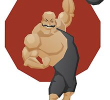 Smiling strong man lift a barbell by JeraRS