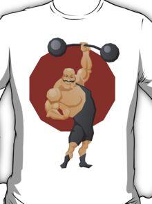 Smiling strong man lift a barbell T-Shirt