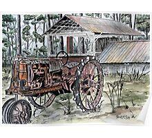 farm tractor vintage art print Poster