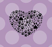 Dog Paws Trails Pawprints Heart Black by sitnica