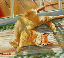 Blue Lounging Red Tabby Cat Portrait  by Oldetimemercan