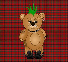 Cute Punk Rocker Teddy Bear by ArtformDesigns