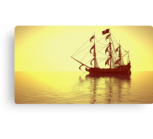 The Pirate Ship And The Sunset Canvas Print