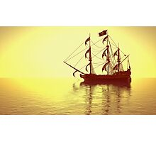 The Pirate Ship And The Sunset Photographic Print