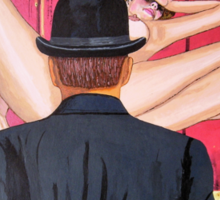 Man with bowler in front of nude Sticker