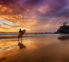 Surfer Sand Sunset by Cheryl Styles