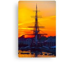 USA. Massachusetts. Boston. USS Constitution. Sunset. Canvas Print
