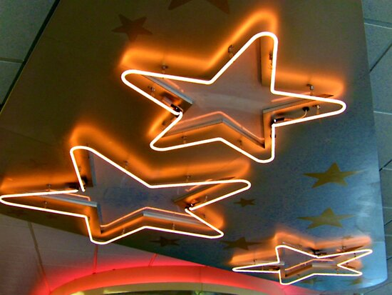 Three Neon Stars On The Ceiling by Jane Neill-Hancock