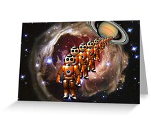Earthlings are giving away saucers with corn flakes ? Greeting Card