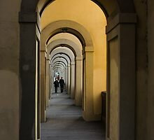 In a Distance - Vasari Corridor in Florence, Italy  by Georgia Mizuleva