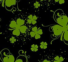 Saint Patrick Day Black Green Clovers Swirls by sitnica