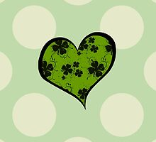 St Patrick Day Green Black Heart Clovers Swirls by sitnica