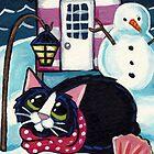 Snow at Beach Hut 8 by Lisa Marie Robinson