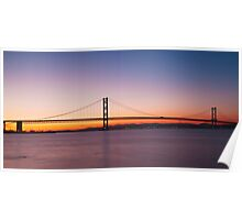 The Forth Road Bridge at dusk in Edinburgh Scotland Poster