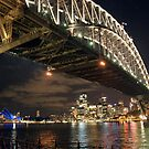 harbour bridge in sydney at night by milena boeva