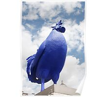 A Blue cockerel lands in Trafalgar Square Poster