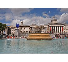 A Blue cockerel lands in Trafalgar Square Photographic Print