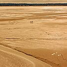 Two Tourists at Sunset in the Bay of Mont St Michel at Low Tide  by Buckwhite