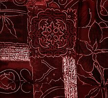 Patchwork, Flowers, Petals, Swirls - Red by sitnica