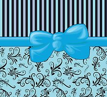 Floral Damask, Stripes and Ribbon - Black, Blue by sitnica