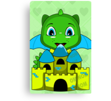 Chibi Dragon With A Blue And Yellow Castle Canvas Print