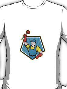 Super Plumber Wielding Plunger Pentagon Cartoon T-Shirt