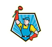 Super Plumber Wielding Plunger Pentagon Cartoon by patrimonio