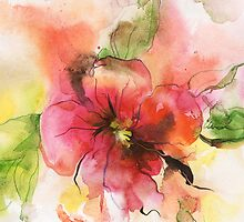 Beautiful pink flower, watercolor by Teni