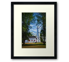 Sturgeon Point Michigan Lighthouse seen through the trees Framed Print