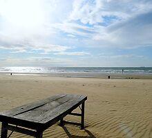 Old wooden table, beach by mattijs