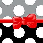 Ribbon, Bow, Polka Dots - Black Gray Red by sitnica