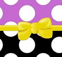Polka Dots, Ribbon and Bow, White Black Purple Yellow by sitnica