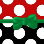 Polka Dots, Ribbon and Bow, White Black Red Green by sitnica