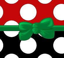 Ribbon, Bow, Polka Dots - Black Red Green by sitnica