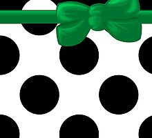 Ribbon, Bow, Polka Dots - Black White Green by sitnica