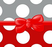 Polka Dots, Ribbon and Bow, Gray White Red by sitnica